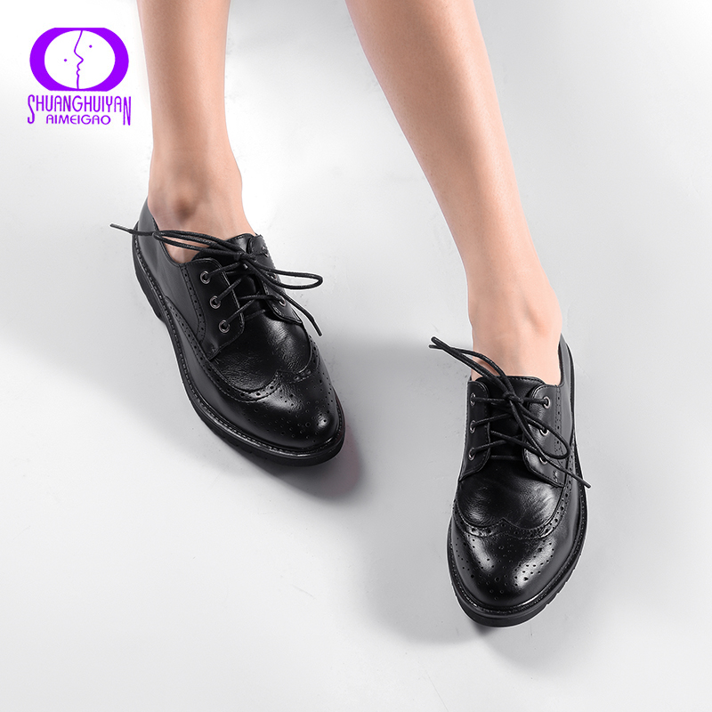 Retro Brogue Genuine PU Leather Woman Oxford Shoes British Style Vintage Cut-Outs Flat Shoes Casual Oxford Shoes for Women e lov women casual walking shoes graffiti aries horoscope canvas shoe low top flat oxford shoes for couples lovers