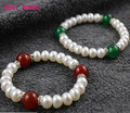 REAL PEARL Fashion Cultured Freshwater Pearl Bracelet with Red Green Agate for Good Luck, Nice Gift Elastic Jewelry