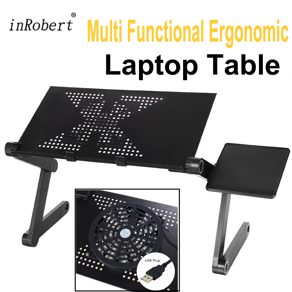 Multi Functional Black Ergonomic Foldable Laptop Table Stand Come With USB Cooler And Mouse Pad Portable Laptop Notebook Table