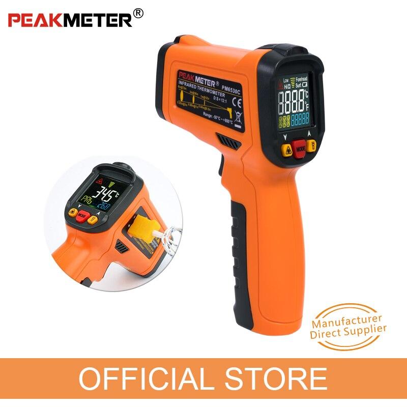 PEAKMETER PM6530C LCD poche Laser numérique IR thermomètre infrarouge température-50 ~ 800 avec type K lumière UV ambiante