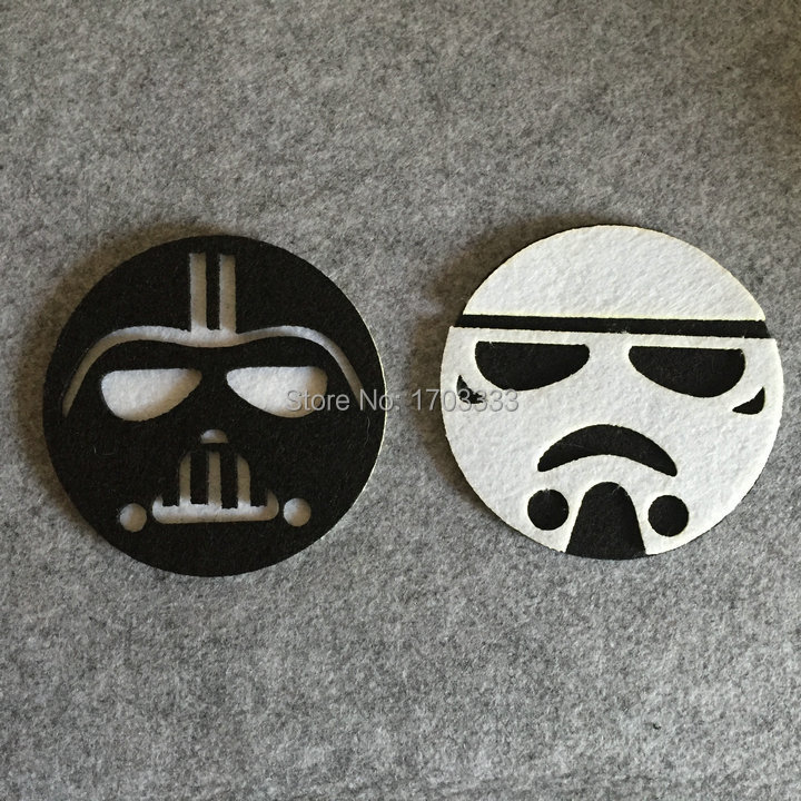 50pcs <font><b>Star</b></font> <font><b>Wars</b></font> <font><b>Cup</b></font> <font><b>Pads</b></font> <font><b>Cartoon</b></font> <font><b>Darth</b></font> <font><b>Vader</b></font> <font><b>White</b></font> Soldiers Double Layer Cloth Felt <font><b>Cup</b></font> Mat Kitchen Drink Tool Free Shipping