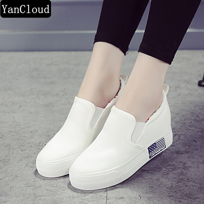 New Fashion Woman Shoes 2018 Spring Creepers Platform Shoe Women Slip on Canvas Shoes Thick Sole Loafers Espadrilles Flats fujin 3cm black grey women spring boots winter fashion women flats bow woman platform shoes slip on espadrilles shoes creepers