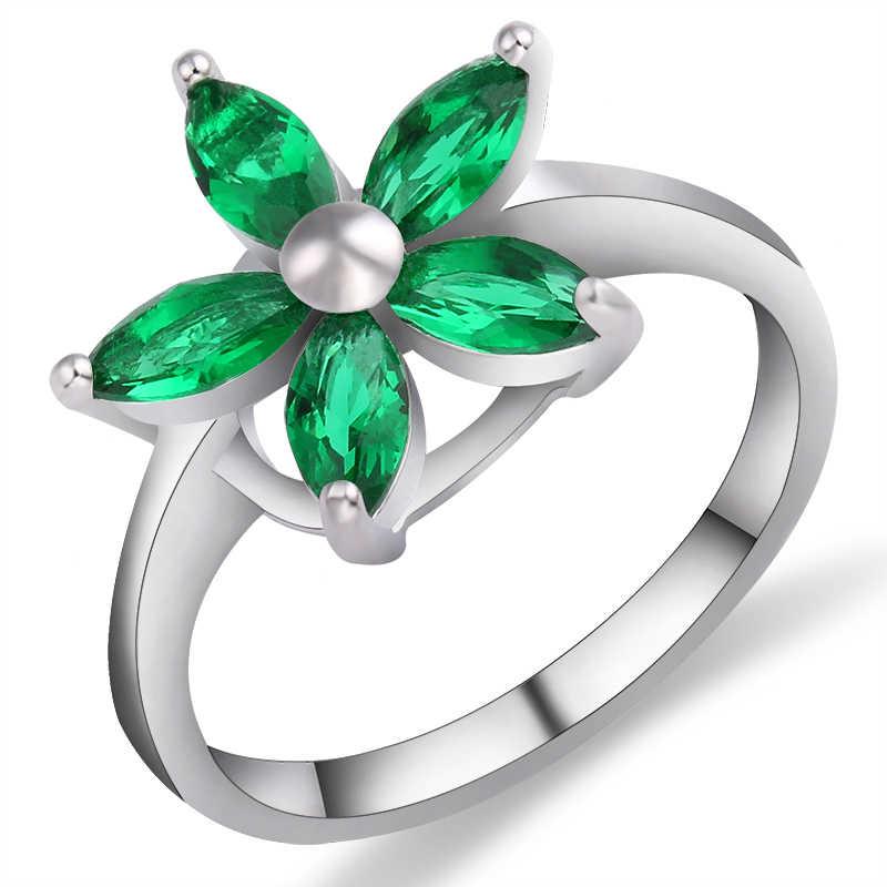 ใหม่มาถึงสีเขียวดอกไม้สีฟ้า Poetic Daisy Cherry Blossom สำหรับสุภาพสตรีแฟชั่นเครื่องประดับ 6 ประเภท anel bagues