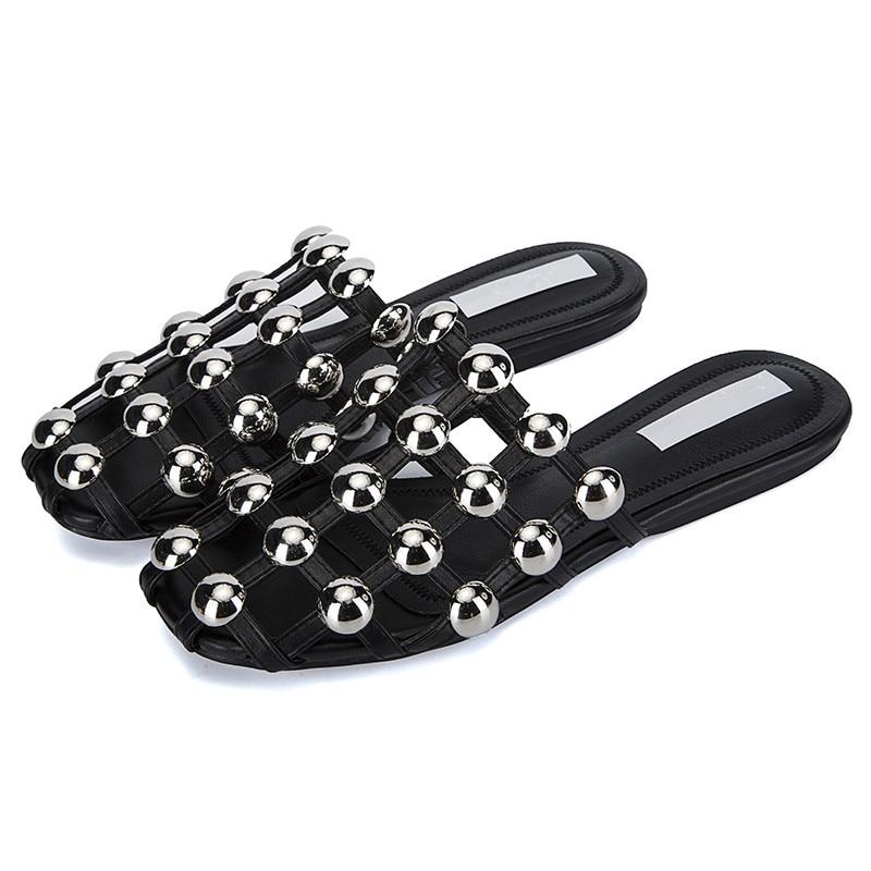 Leather Sandalias Mules Cutouts Luxury Slip On Beading Caged slipper Studded Slide Sandals Runway Beach Shoes Women