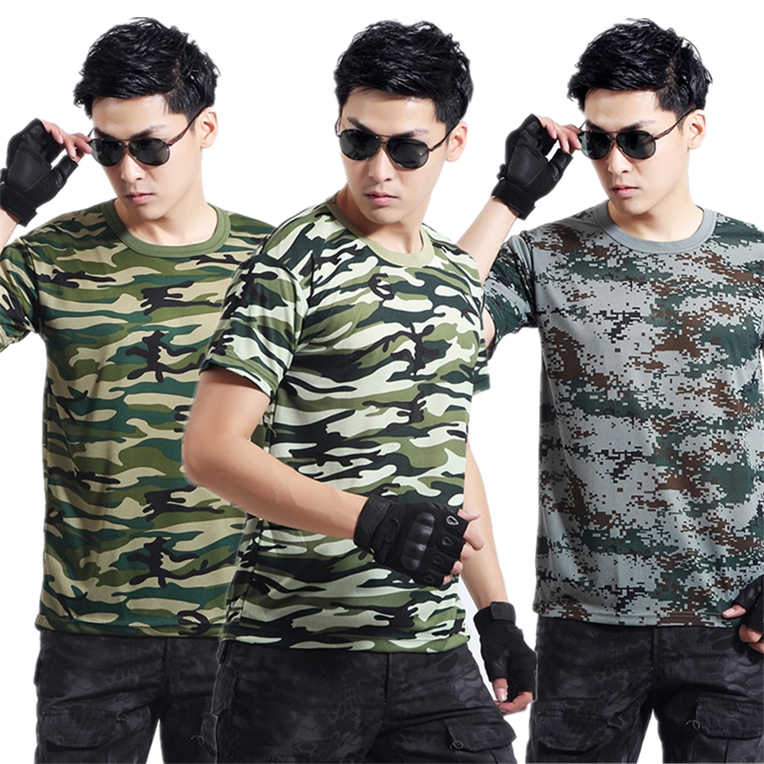 New Men Army Camouflage T-shirt Military Uniform Tactics Outdoor Training Mesh Breathable Quick Drying Top Clothes Militar Shirt