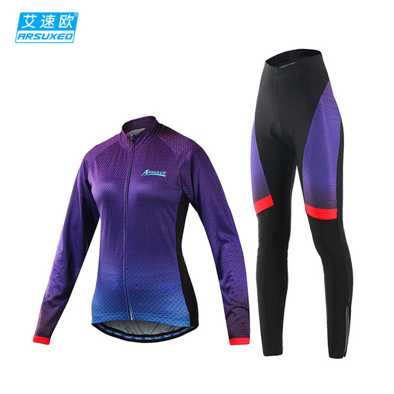 ARSUXEO 2017 Pro Cycling Women Bike Clothing Set Long Sleeve Cycling Jersey Sets Retro Bicycle Clohtes MTB Sport Wear Suit arsuxeo 60017 women s cycling running long sleeves jersey shirt fluorescent green xl