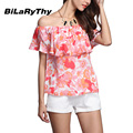 BiLaRyThy New Summer Style Casual Women Off Shoulder Chiffon Blouses Tops Sexy Ruffles Slash Neck Floral Printing Shirts