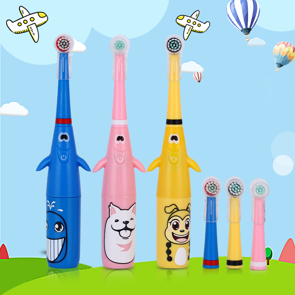New 3D Cartoon Pattern Children Electric Toothbrush Rotary Tooth Brush with Replacement Heads Battery Type for Kids Waterproof ckeyin cartoon dolphin children music electric toothbrush led tooth brush 22000 min kids sonic toothbrush electric 3 brush heads