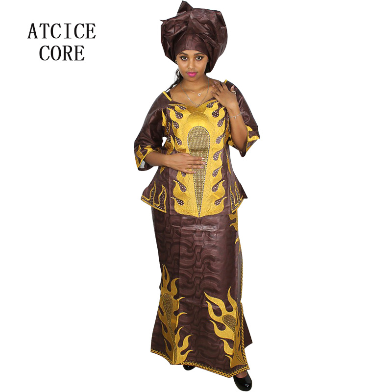African Dresses For Women Free Shipping New Fashion Design African Bazin Riche Embroidery Short Rapper With Scarf Dp88#