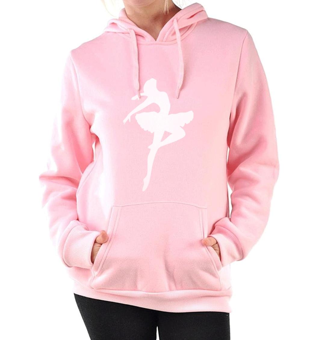 women 2019 new pink hoodies cute A girl is dancing pullovers lady autumn casual long sleeve hooded sweatshirt regular female top