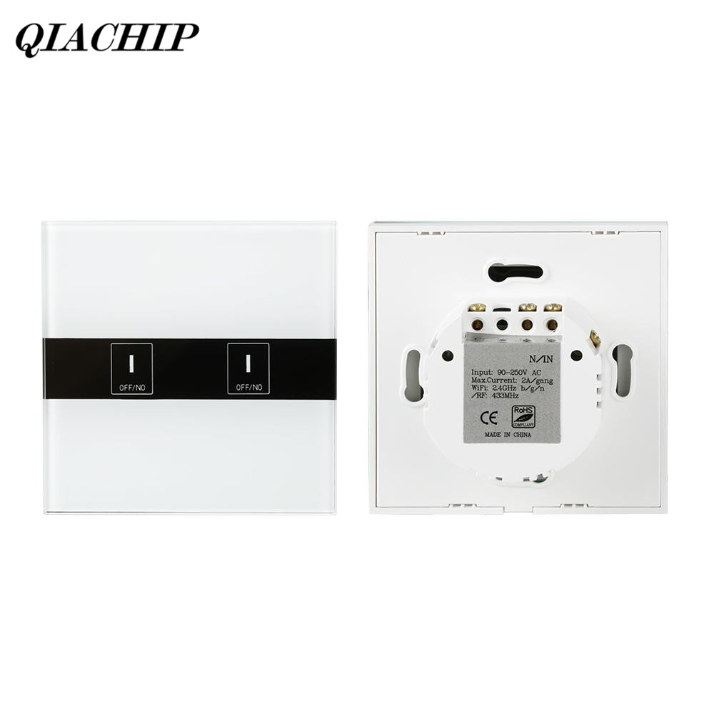 QIACHIP WiFi Smart Switch 2CH Wall Switch Work with Alexa Google Home Timing Function APP Remote