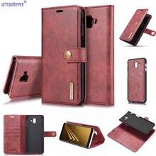 Do Samsung Galaxy J6 Plus J6 + odpinany etui z klapką J610 SM J610FN/DS SM J610F/DS luksusowe skórzane stojak etui na portfel SM J610FN torba