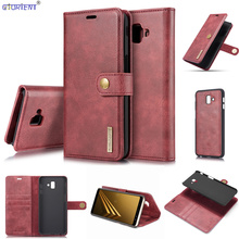 For Samsung Galaxy J6 Plus J6+ Detachable Flip Case J610 SM J610FN/DS SM J610F/DS Luxury Leather Stand Wallet Case SM J610FN Bag