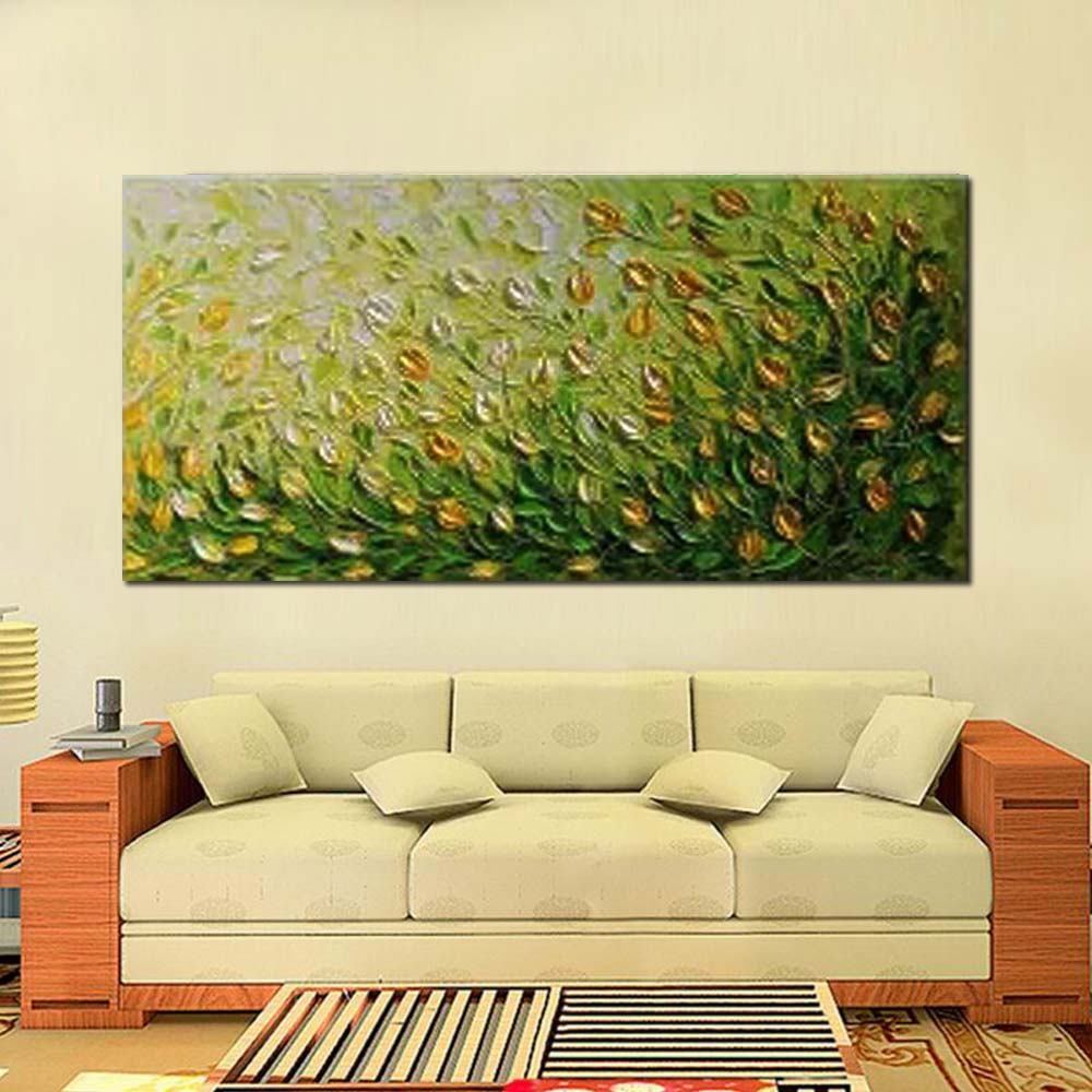 Hand Painted Modern Thick Impasto Yellow Flower Canvas Art Oil ...