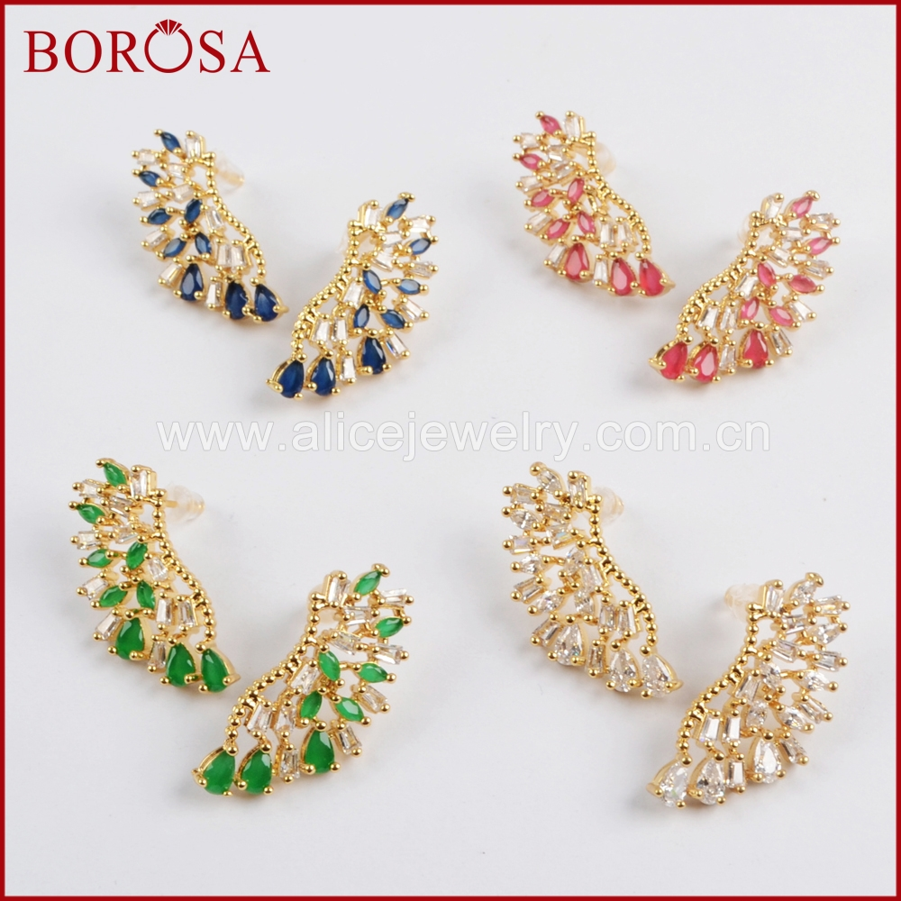 BOROSA Elegant Jewelry CZ Micro Pave Crystal Golden Metal Earrings,Mixed Color Drusy Fashion Stud Earrings for Women Girls WX790