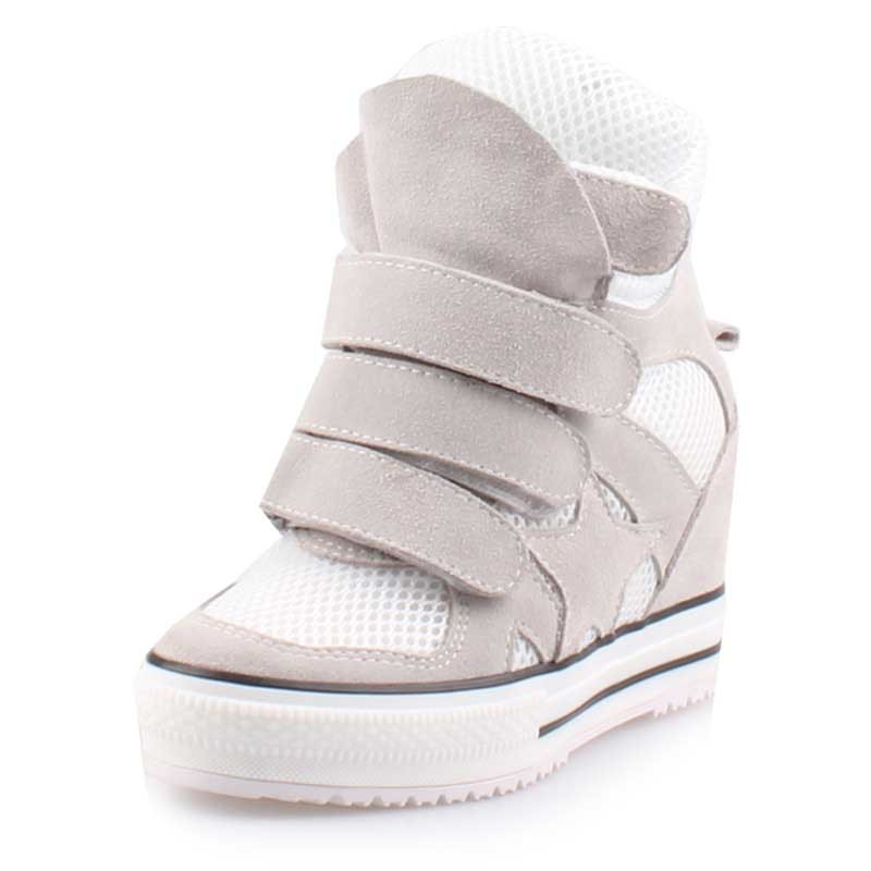 2017 new fashion brand high quality breathable mesh Comfortable hidden wedge casual shoes elevator boots women height increasing