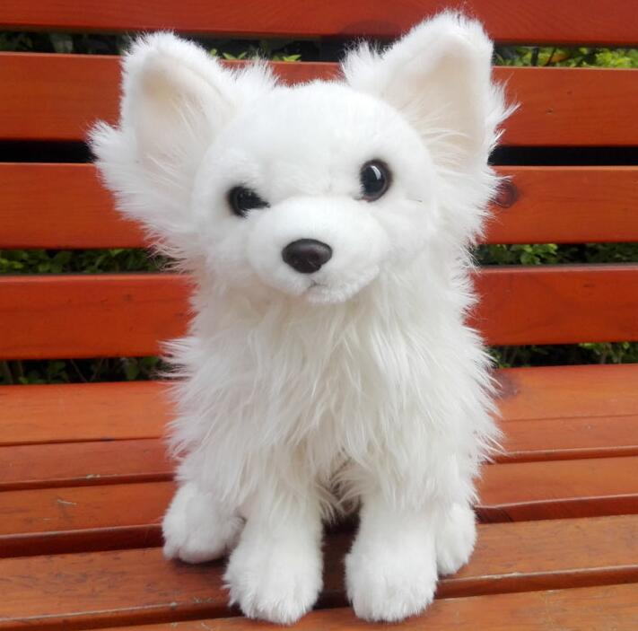 Stuffed Animals Toys   Lovely Dogs Plush  Doll Toy  White Papillon Pomeranian  Children'S Gift very beautiful stuffed toys
