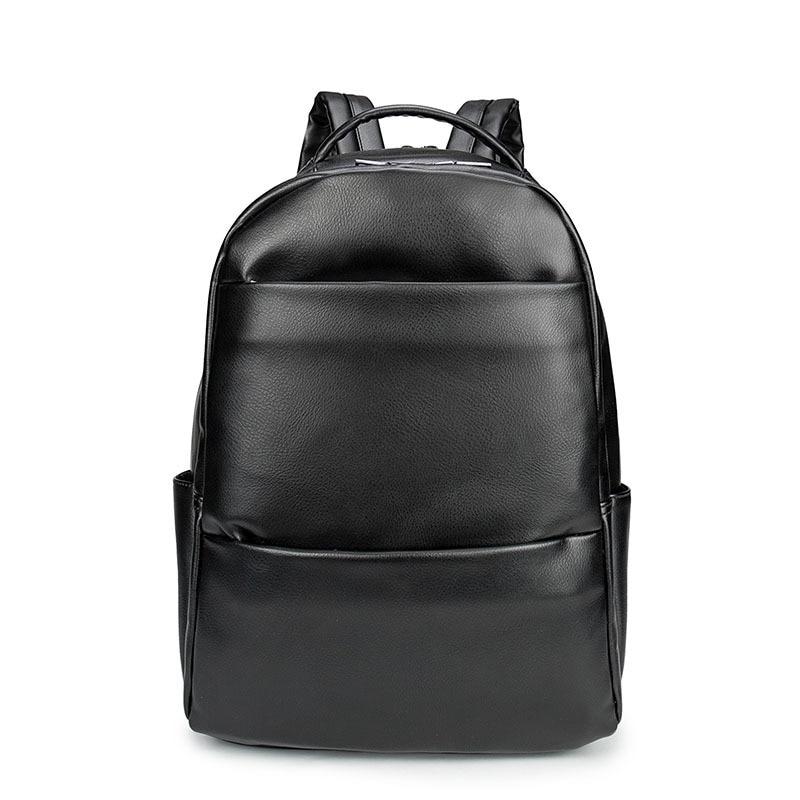 New Men Business Casual Backpacks for School Travel Bag Black PU Leather Men's Fashion Shoulder Bags Vintage Boys Men Backpack
