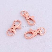 50pcs Rose gold color Metal Dog Hook Swivel Snap Hooks Key chain  for bag , belts ,garment