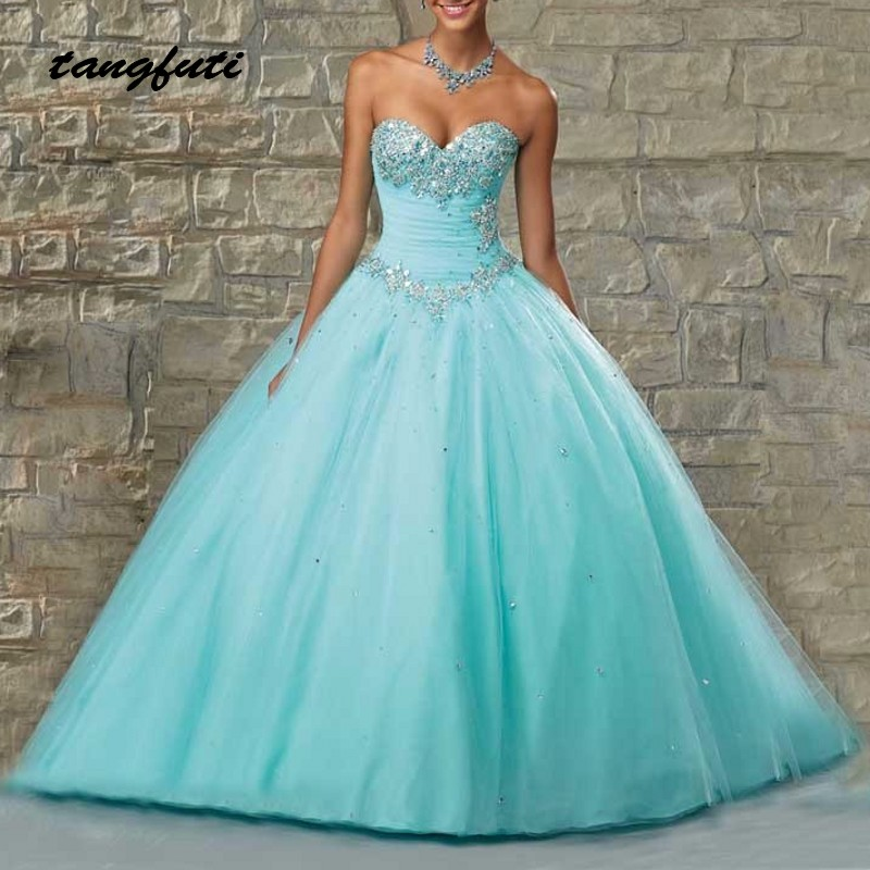 Quinceanera Dresses Ball Gown Long Beaded Crystals Sweetheart Quinceanera 15 Year Vestidos De 15 Anos sweet