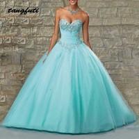 Бальные платья бальное платье Длинные бисером кристаллы Милая 15 лет Vestidos De 15 Anos сладкий 16 платья для женщин 2019