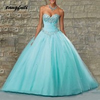 Quinceanera Dresses Ball Gown Long Beaded Crystals Sweetheart Quinceanera 15 Year Vestidos De 15 Anos sweet 16 dresses 2019