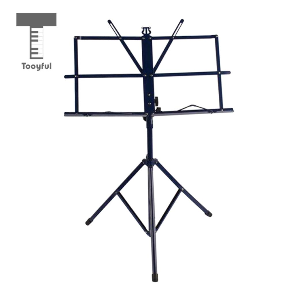 Tooyful Blue Metal Folding Sheet Music Stand Holder Tripod Base Adjustable with Carring Gig Bag allen roth brinkley handsome oil rubbed bronze metal toothbrush holder