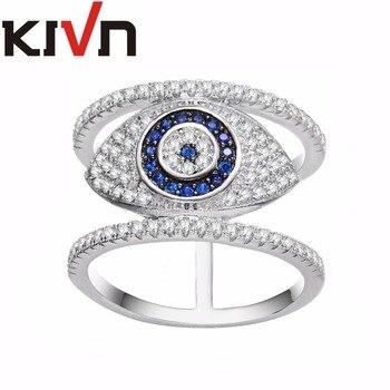 KIVN Jewelry Turkish Blue eye CZ Cubic Zirconia Womens Girls Bridal Wedding Engagement Rings Birthday Gifts 10pcs Lots Wholesale
