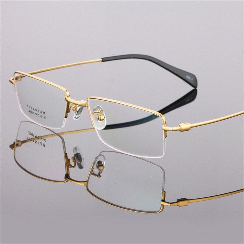 Mode hommes lunettes ultralégères titane montures lunettes pour hommes optique cadre mince jambe demi-cerclée 8895