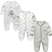 Newborn Baby Boys Gray Cotton Rompers Sleep Play Clothes Baby Pajamas Newborn Girls Clothing Footed Rompers