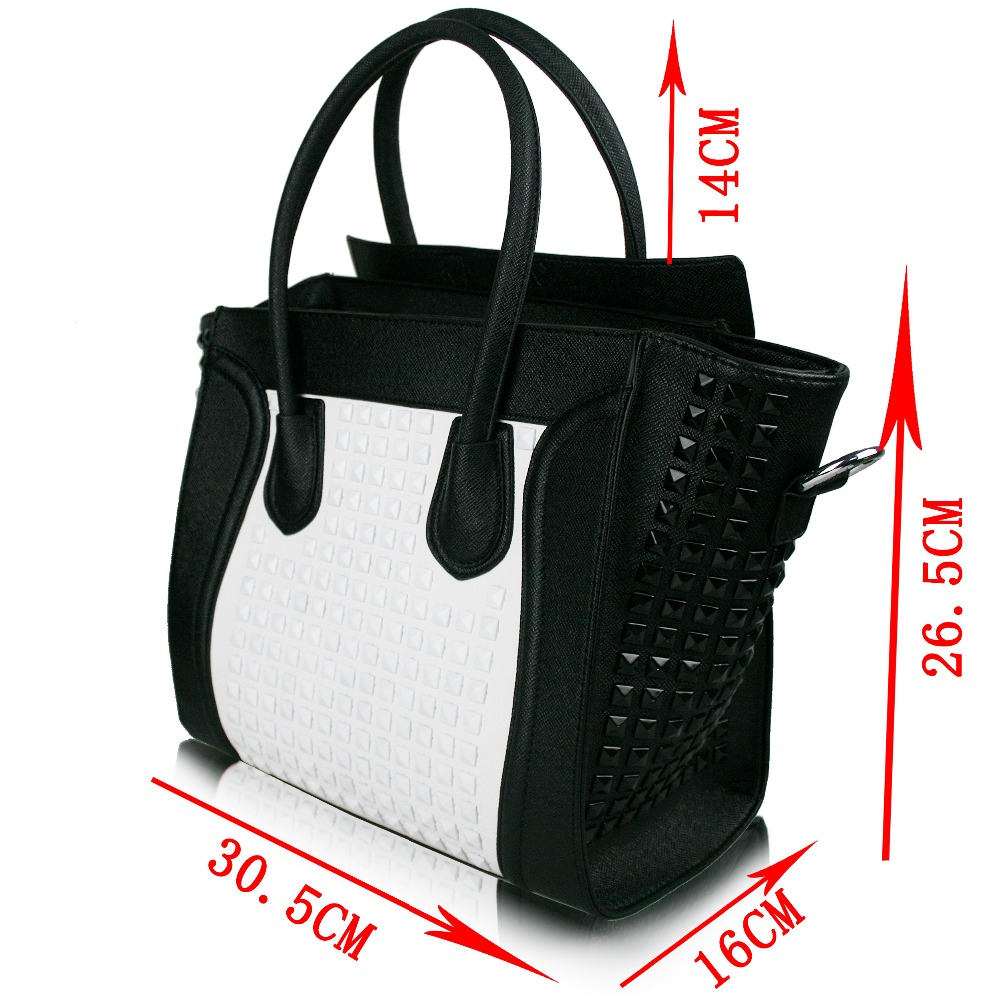 97d93942366b Women Designer Celebrity Leather Smile boat nail Studded Handbag Shoulder  Satchel Hand Bag Styles-in Top-Handle Bags from Luggage   Bags on  Aliexpress.com ...