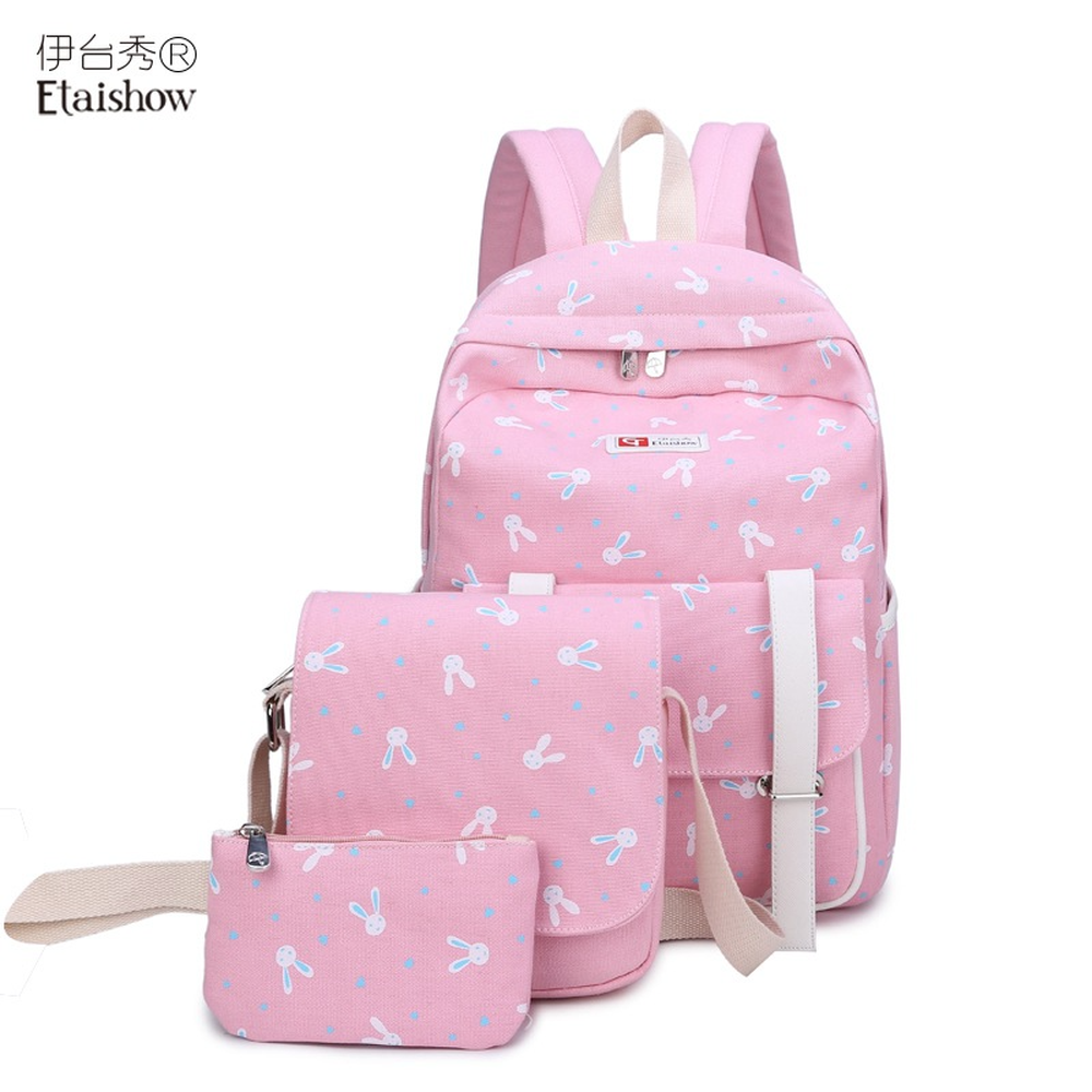 Three piece suit canvas backpack female Korean version of the cartoon rabbit print travel backpack