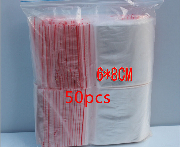 50pcs 6x8cm pe transparent travel gift packaging bags plastic bag for necklace/jewelry diy custom ziplock clear self seal bags