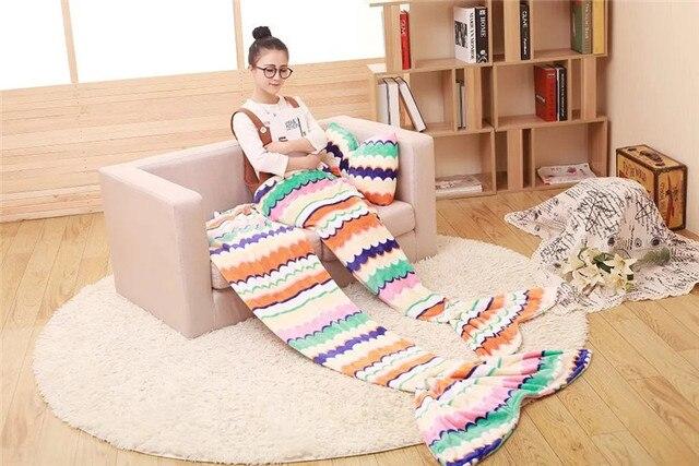 Kussen Voor Kinderen : Ontwerpen maten mermaid tail fleece bank tv deken met kussen