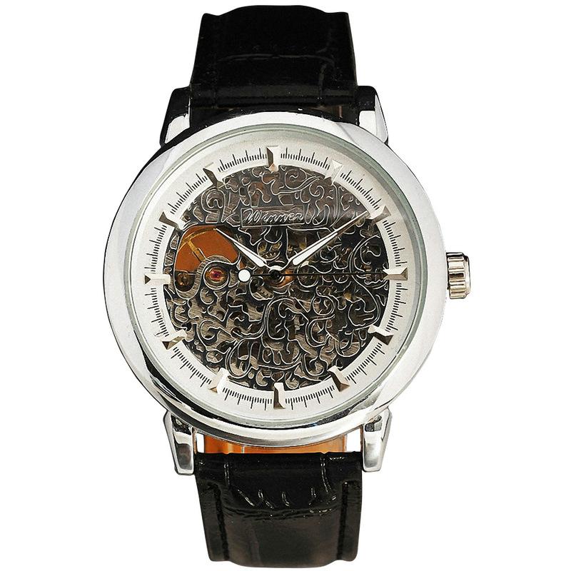 Prix pour Vainqueur femmes mécanique montre - bracelet bracelet en cuir Rose or vigne motif Hollowed or lunette