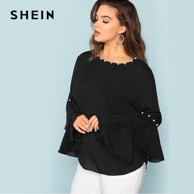 SHEIN Pearls Embellished Layered Ruffle Sleeve Plus Size Women Black Blouse 2018 Fashion Beaded Detail O-Neck Top Blouse 2