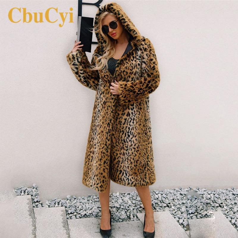 Femmes La Fourrure Taille Long Laine Cbucyi Faux Patchwork Léopard Épais Couleur De Capuchon Leopard X Chaud À long Manteaux Plus Manteau qXxFdxCw