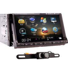 Rear Camera+GPS Map Double 2 din In-dash Car Radio Stereo GPS Navigation 7″ HD Car DVD CD MP3 Video Player PC ipod+TV+Bluetooth