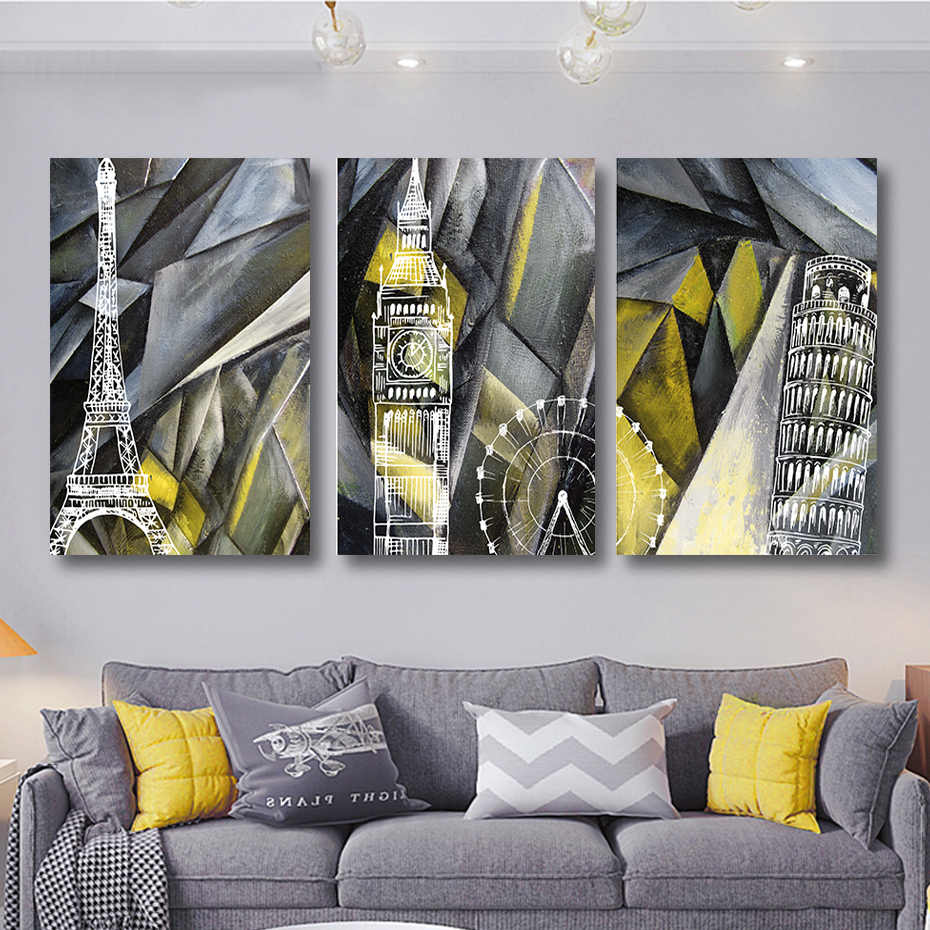 Set 3 pcs Modern London Paris Pisa Travel Canvas Paintings Oil Prints Poster Wall Art Frame for Picture DIY Stretched Wood Frame