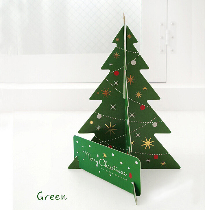 Red + Green Creative Christmas Tree Card Gift Set,3D Stand Up ...