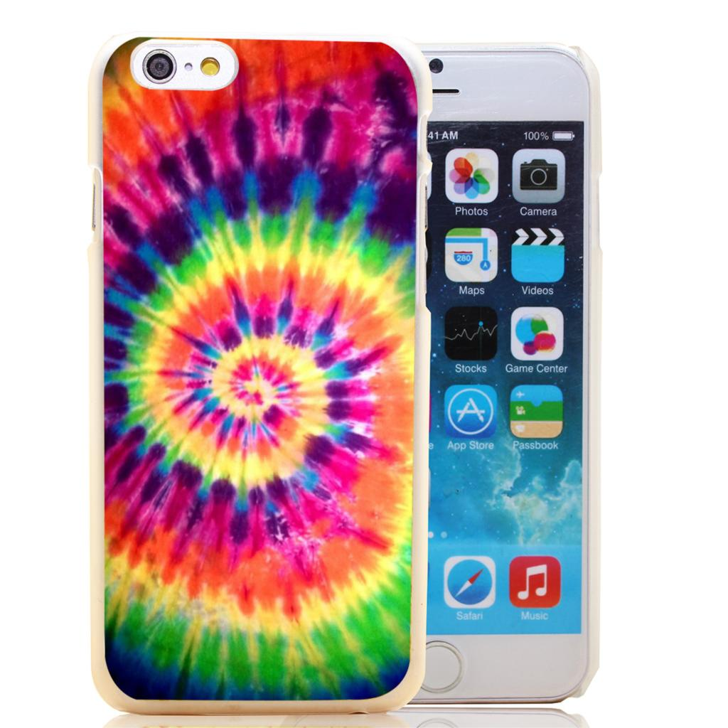 1747-HOQE Tie Dye Pattern Batic Rainbow Colourful Retro Ink Transparent Hard Case Cover for iPhone 6 6s plus 5 5s 5c 4 4s
