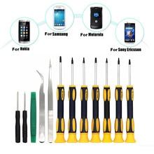 12Pcs T3 T4 T5 T6 T7 T8H T10H Torx Phillips Slotted Screwdriver Set & Tweezers & Prying Tool for Laptop Tablet Phone Repair