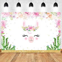 Unicorn Photo Background Photocall Colorful Flowers Backdrop Cactus Birthday Party  Newborn Baby Photography Backdrops