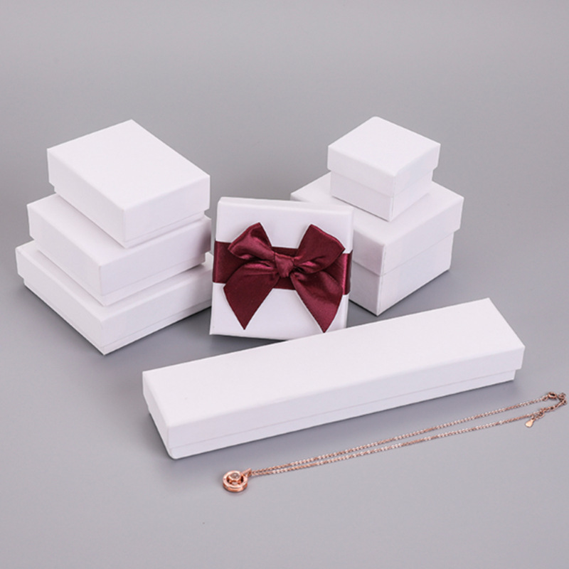 Hot Sale 5pcs Multi Size Spot White Jewelry Packaging Box Necklace&earring&ring Box Paper Gift Boxes For Jewellery Packaging