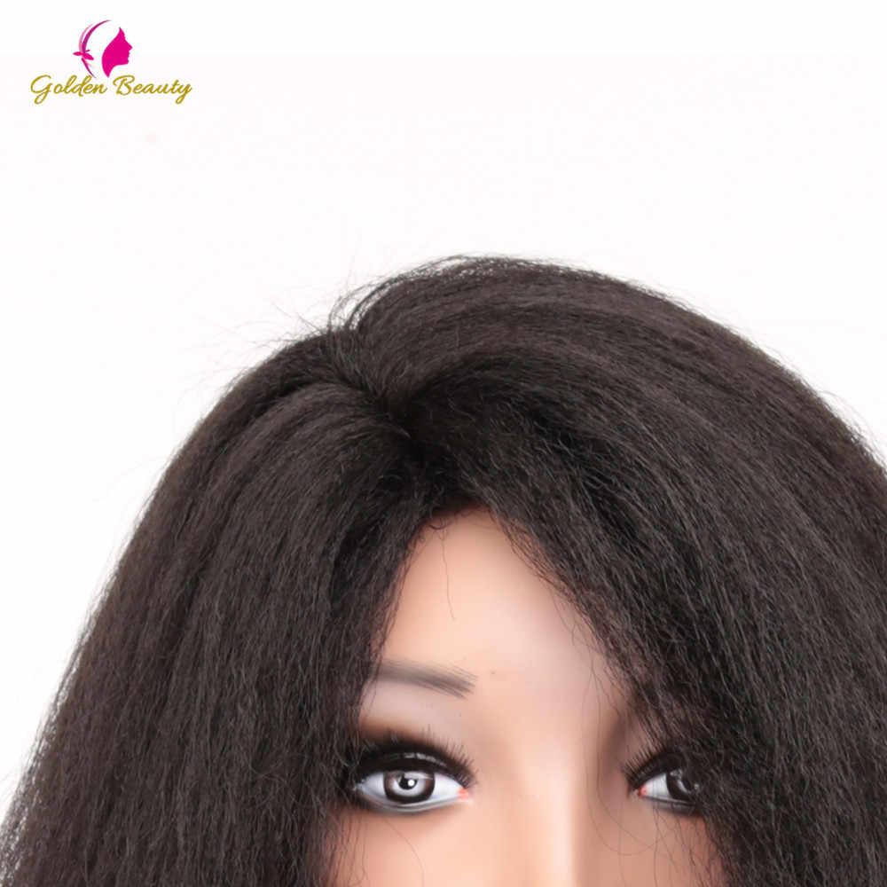 20 Inch Afro Pruiken Synthetisch Haar Yaki Rechte Pruik Met Wave End Voor Vrouwen Korte Pluizige Pruik Hittebestendige Golden schoonheid