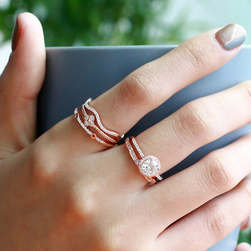 Starland New Silver Rings Flower Geometry Shape 925 Sterling Silver White CZ Ring for Women Wedding