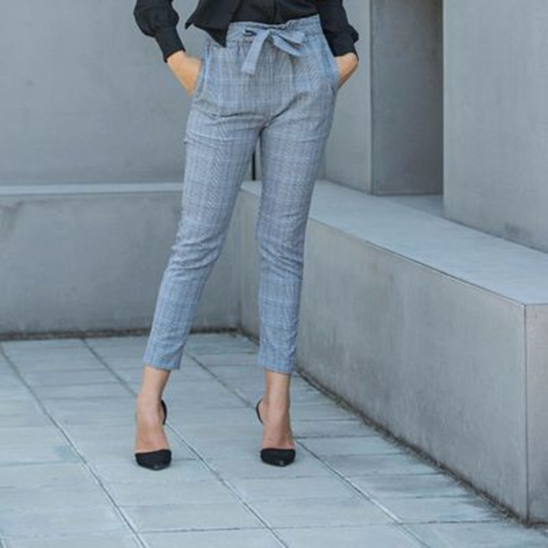 Autumn Spring Women Pencil Pants Plaid Empire Bodycon Female Safari Style Trouser Drawstring Office Lady Ankle-Length Pants