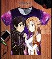 Espada de Arte En Línea T-shirt Asuna Kirito Kirigaya Kazuto SAO Cosplay Anime Moda Masculina Camiseta Camiseta Nuevo Diseño Fresco