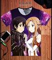 T-shirt Asuna espada de Arte Em Linha SAO Kirito Kirigaya Kazuto Cosplay Anime Moda Camisa Dos Homens T de T Novo Projeto Fresco