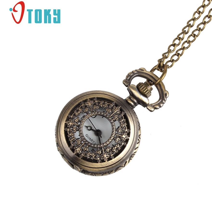 OTOKY Retro Leaves Vintage Style Pocket Chain Necklace Watch for quartz women watch reloj mujer #40 Gift 1 pcs antique smooth black mini toy pocket watch men women retro pendant necklace quartz watch mini gift chain reloj de bolsillo